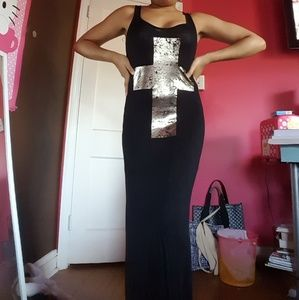 Wetseal Black Maxi Dress w/ Gold Cross Lace